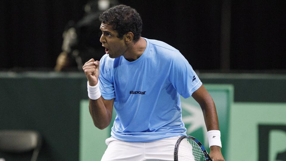 India's Ramkumar Ramanathan celebrates a point against Canada's Brayden Schnur during the Davis Cup tennis match in Edmonton, Alberta, Friday, Sept. 15, 2017.