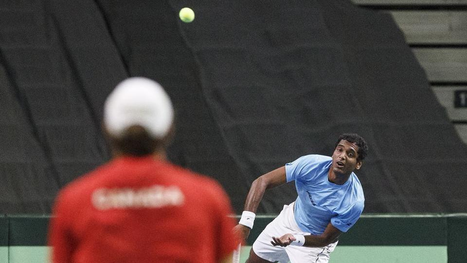 Ramkumar Ramanathan faced Brayden Schnur in the first match of the Davis Cup World Group Play-off tie between India and Canada.  (AP)