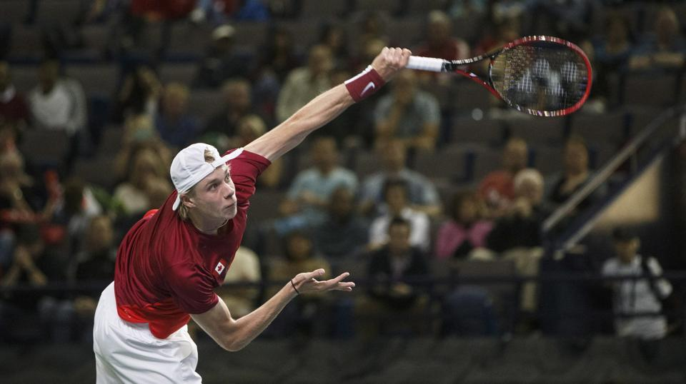 Denis Shapovalov, Canada's highest ranked player, then took on Yuki Bhambri in the second match of the tie. Shapovalov won the first two sets of the match.  (AP)