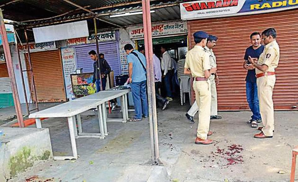 MIDC Police inspecting the spot at Gavalimatha Chowk in Bhosari MIDC where Vijay gholap was shot by two people in Pune, India, on Saturday.