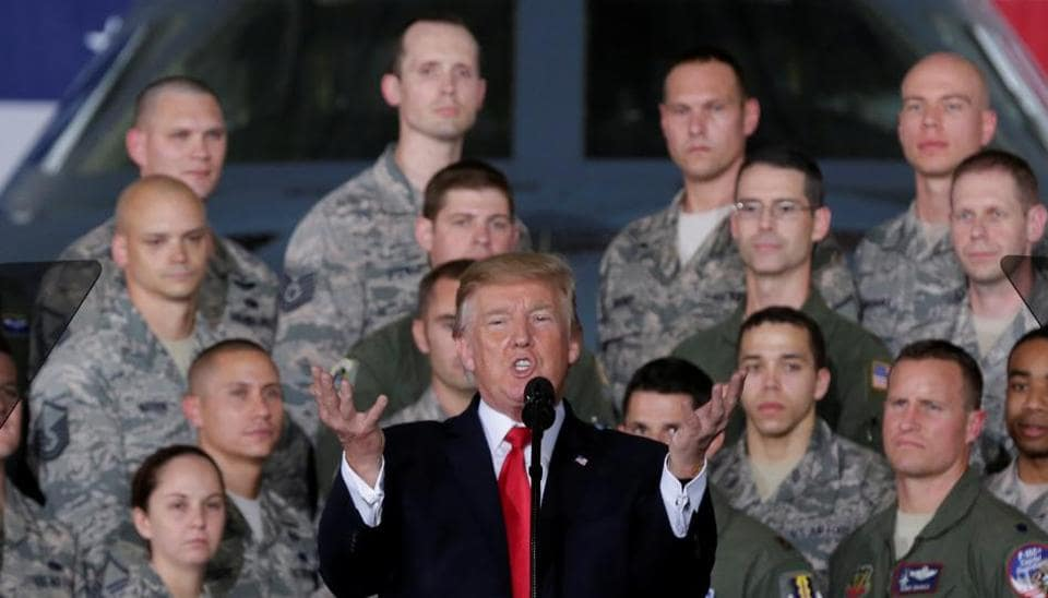 U.S. President Donald Trump delivers remarks to military personnel and families at Joint Base Andrews in Maryland, U.S., September 15, 2017.
