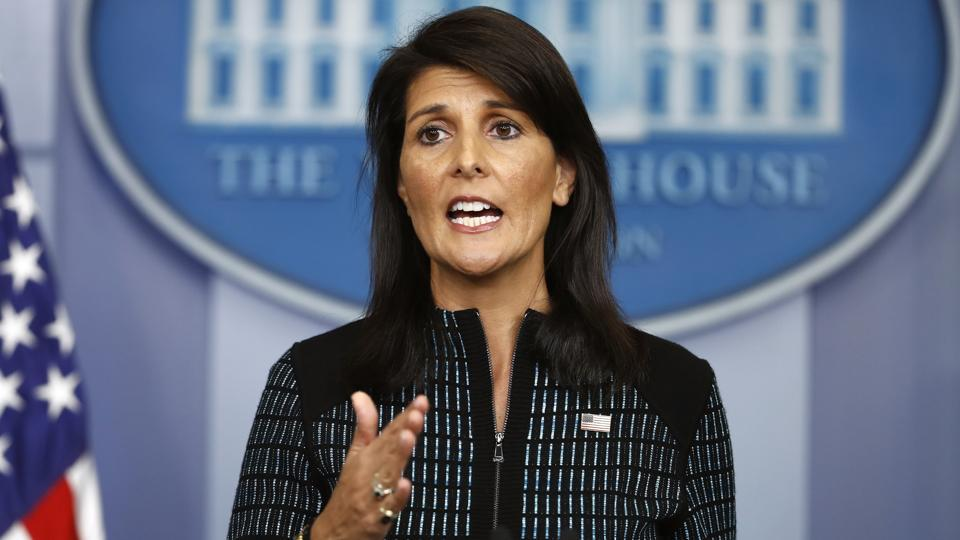 US Ambassador to the United Nations Nikki Haley speaks during a news briefing at the White House on September 15.