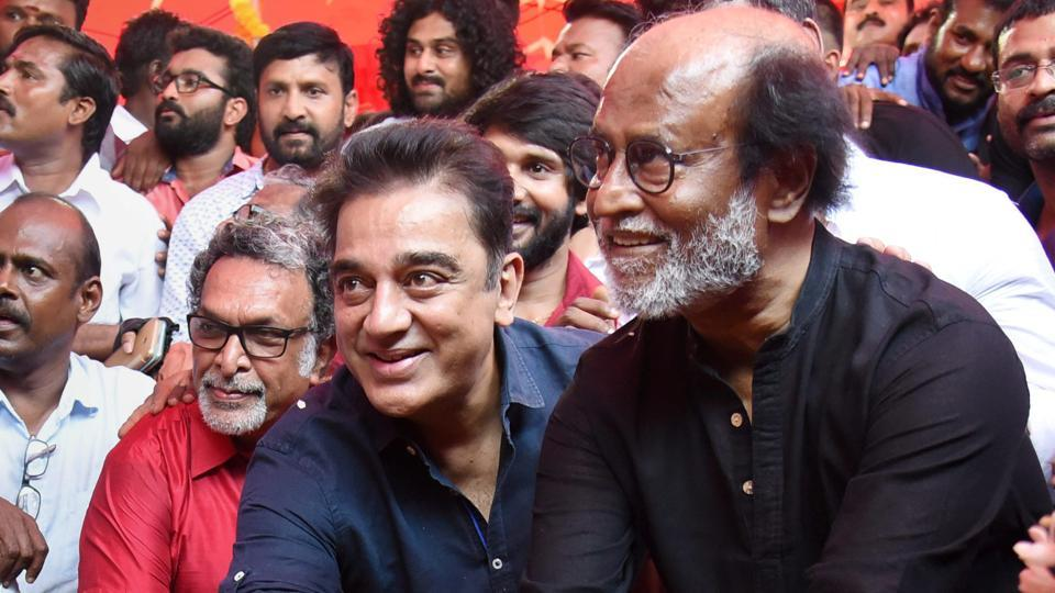 Image result for If Rajinikanth enters politics I'll join hands with him, says Actor Kamal Haasan
