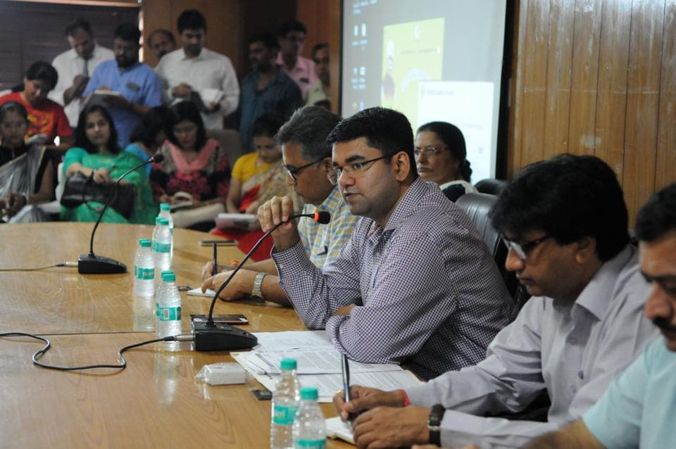 Gurgaon deputy commissioner Vinay Pratap Singh at the meeting with school representatives on Saturday.