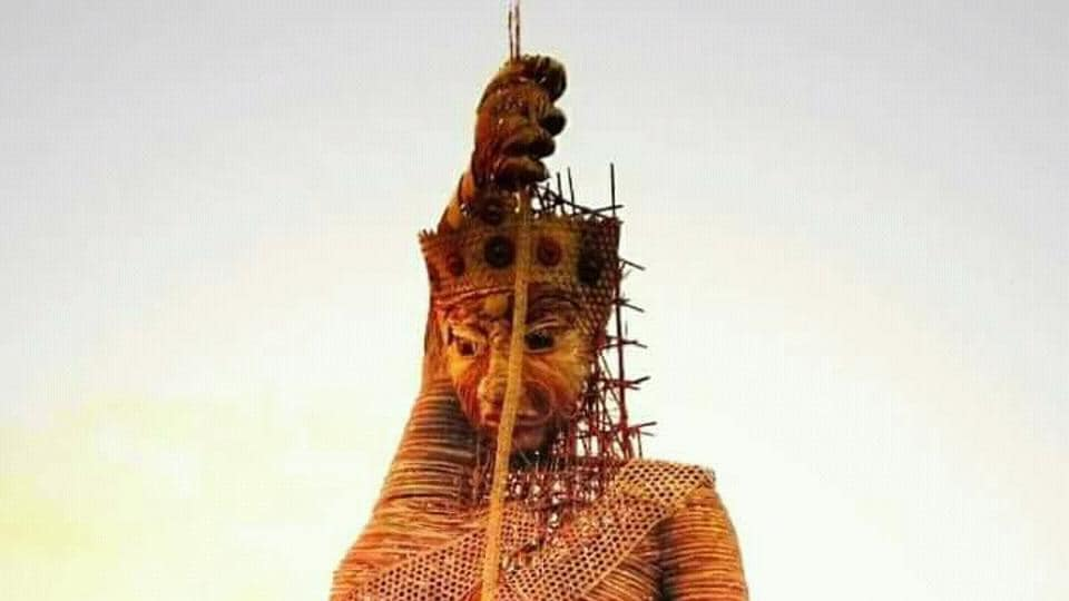 The bamboo image of Durga in Guwahati before a storm felled it.