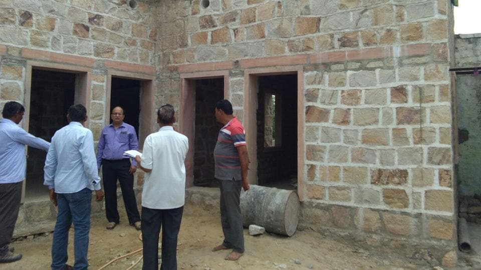 An incomplete house, which was being built under the Pradhan Mantri Awas Yojana.