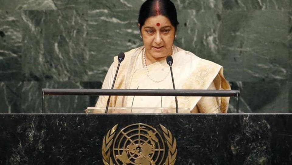 External affairs minister Sushma Swaraj addressing an earlier session of the United Nations General Assembly