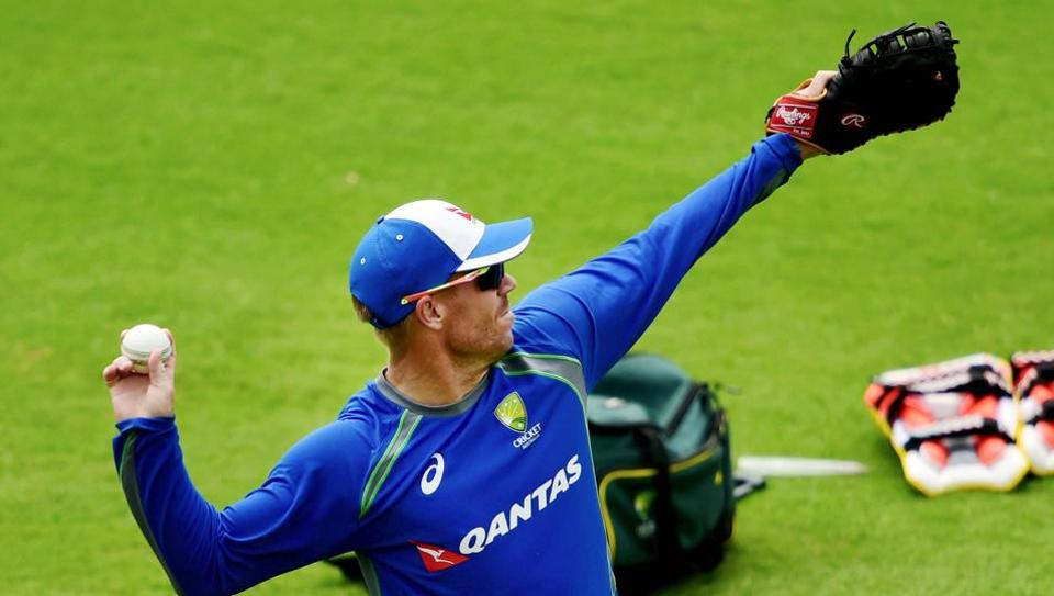 David Warner during a practice session at MAC Stadium in Chennai on Thursday ahead of the first ODI match against India.