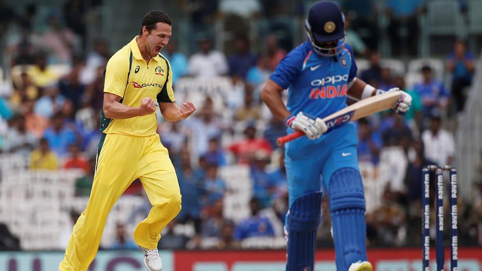Nathan Coulter-Nile celebrates after dismissing Ajinkya Rahane during India vs Australia 1st ODI in Chennai.