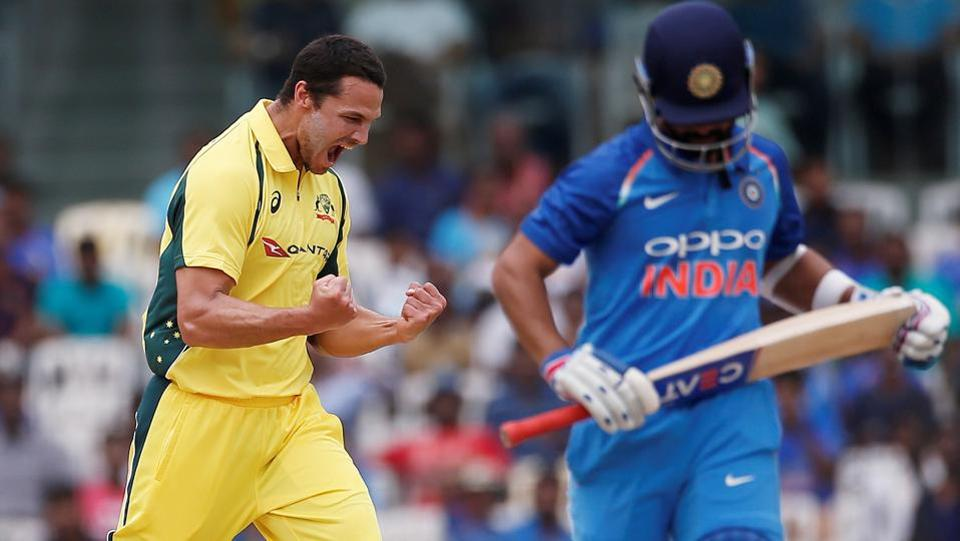 After India won the toss and chose to bat, Nathan Coulter-Nile gave an early jolt by dismissing Ajinkya Rahane in the fourth over. (REUTERS)