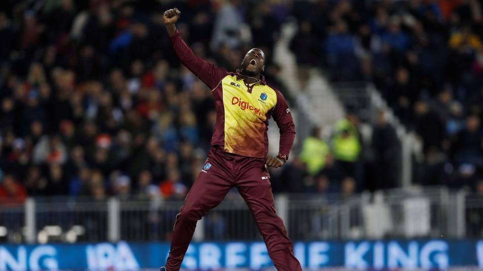 West Indies captain Carlos Brathwaite celebrates picking up a wicket during the one-off Twenty20 International against England on Saturday.