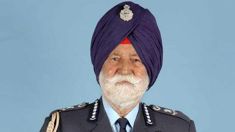 A file photo of Marshal of the Indian Air Force Arjan Singh, who died on Saturday.
