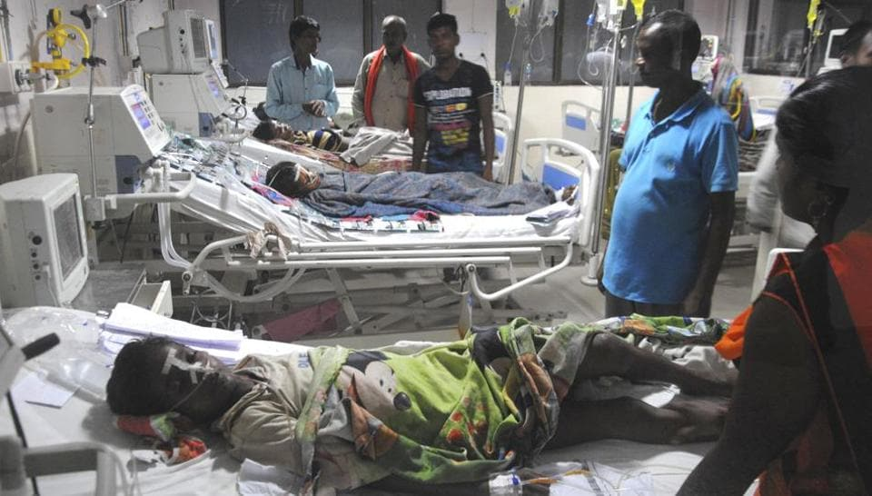 A ward at the BRD Hospital in Gorakhpur on Wednesday. (HT Photo)