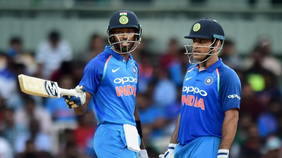 Riding on solid knocks from Hardik Pandya and MS Dhoni, India beat Australia by 26 runs in the rain-hit first ODI in Chennai.