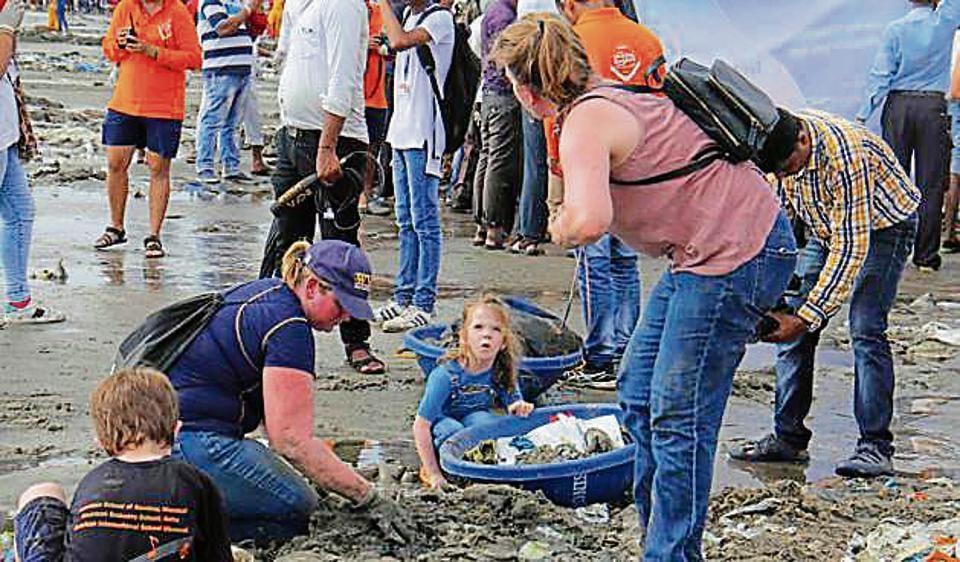 Volunteers at Versova beach on Saturday.