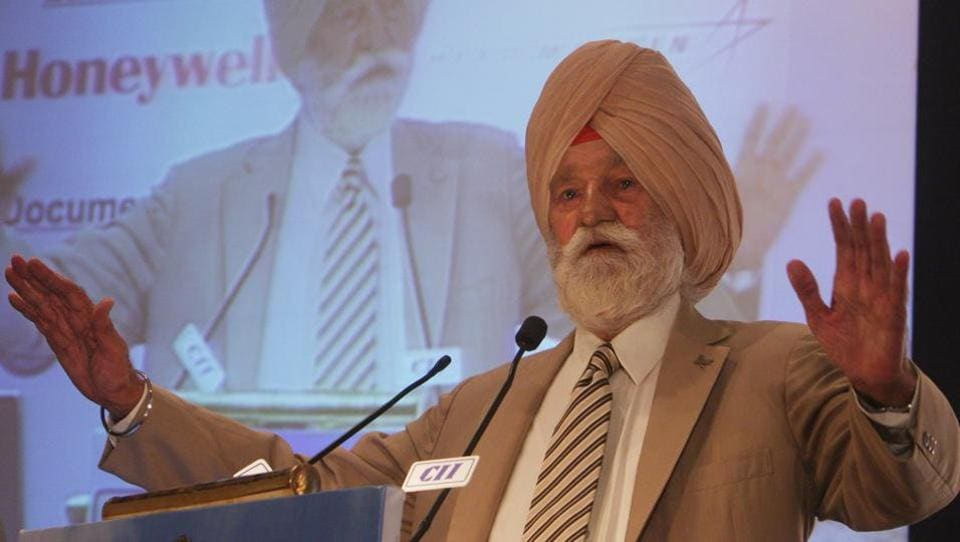 Marshal of the Indian Air Force Arjan Singh speaks during a conference on the aerospace Industry in New Delhi.