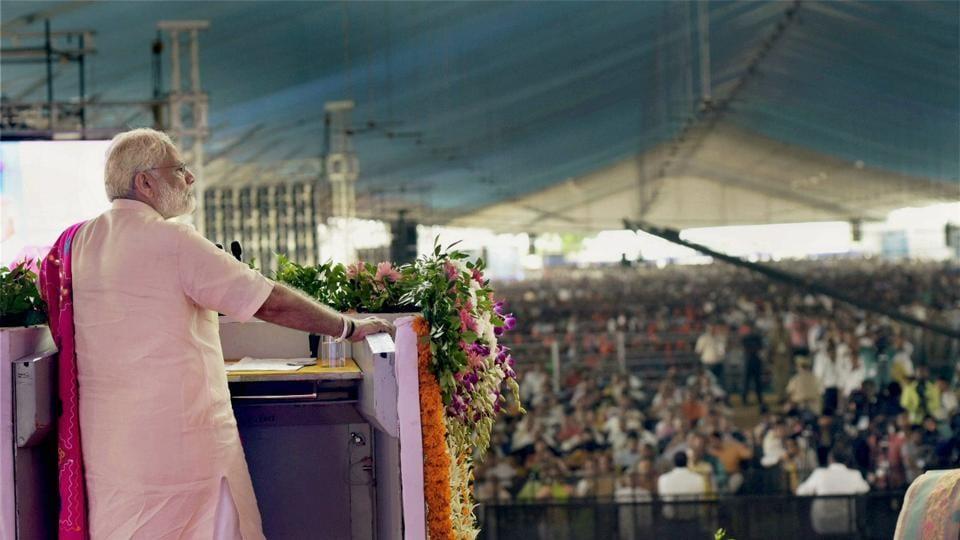 PM Narendra Modi addresses a public meeting in Dabhoi after inauguration of the Sardar Sarovar Dam.