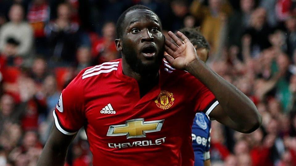 Manchester United's Romelu Lukaku celebrates scoring their third goal against Everton.