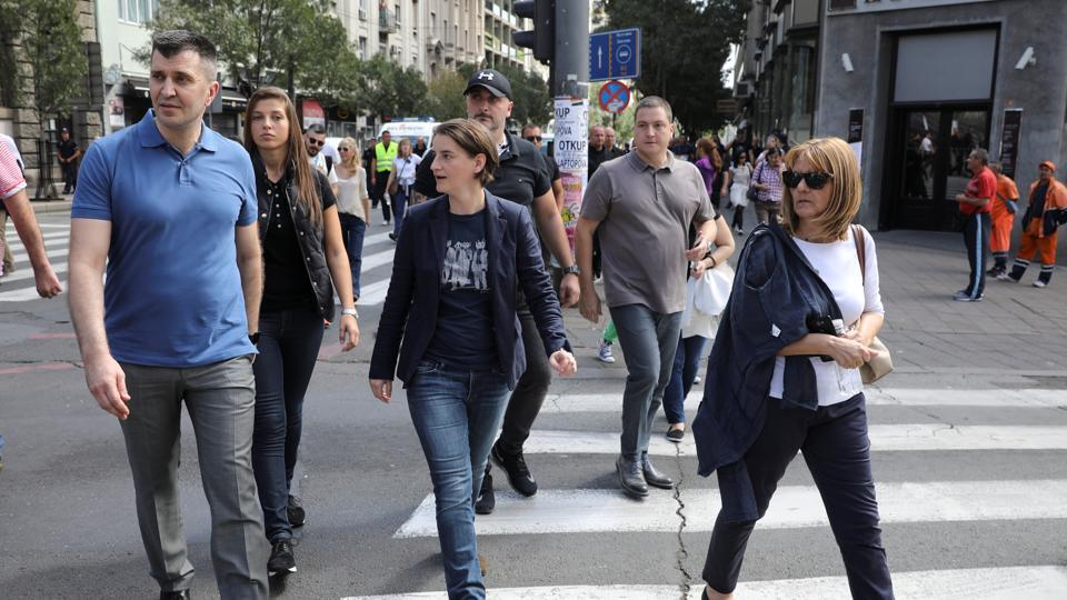 Serbian PM Ana Brnabic (C) attends an annual LGBT (Lesbian, Gay, Bisexual and Transgender) pride parade in Belgrade, Serbia.