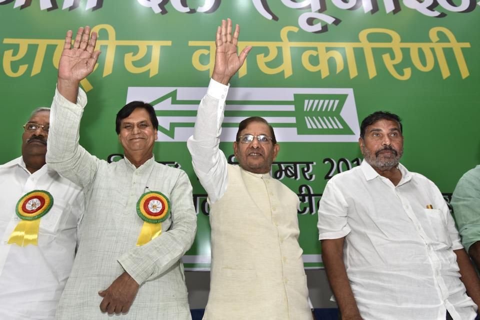 JD(U) leader Sharad Yadav with his party leaders during the party's National Executive meeting in New Delhi on Sunday.