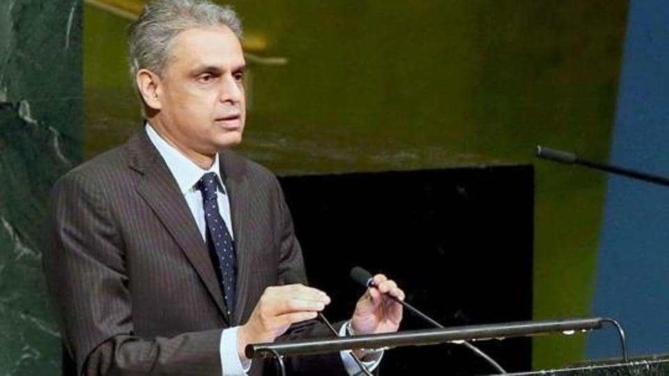 India's permanent representative to the UN, Syed Akbaruddin, delivers his statement on the occasion of International day of Vesak, at the United Nations General Assembly in New York.