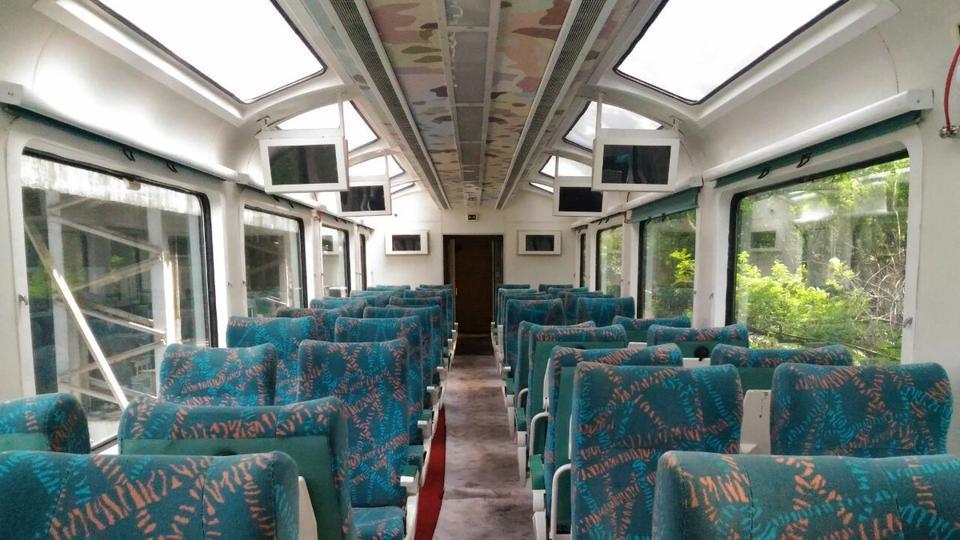 The Indian Railways' Vistadome coach debuts on Monday.