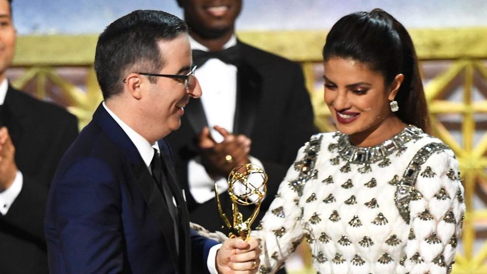 At the 69th Emmy Awards held at Microsoft Theatre in Los Angeles, Priyanka Chopra presented an award to John Oliver.