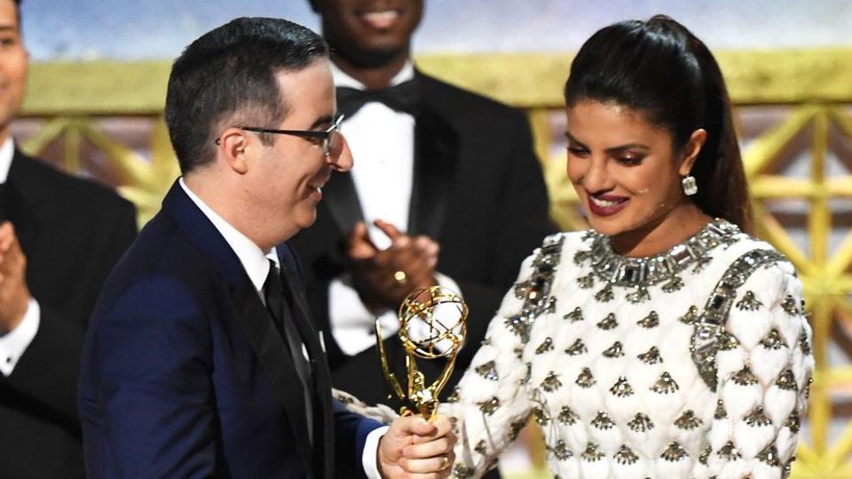 At the 69th Emmy Awards held at Microsoft Theatre in Los Angeles, Priyanka Chopra presented an award to John Oliver.