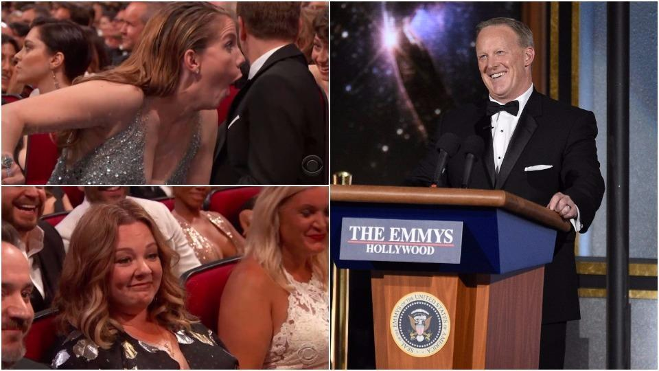 Anna Chlumsky and Melissa McCarthy has the best reaction to Sean Spicer's appearance at the Emmy Awards.