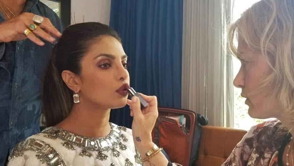 Priyanka Chopra decking up for the big night.