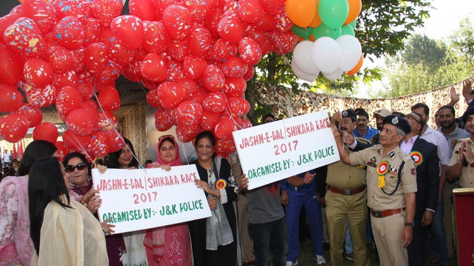 Jammu and Kashmir Director General of Police SPVaid inaugurating the water sports festival Jashan-E-Dal  in Srinagar on Monday.