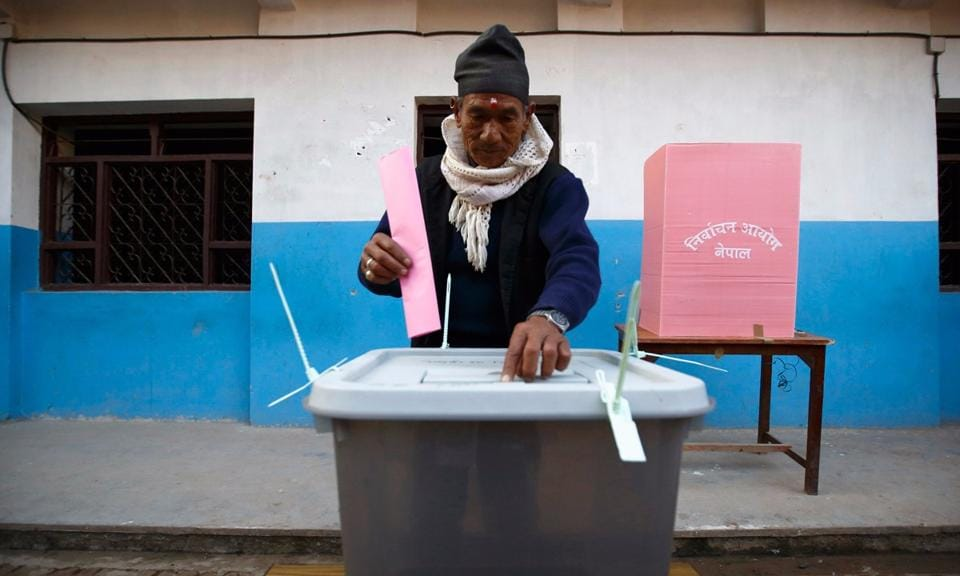 File photo of a Nepalese man voting.