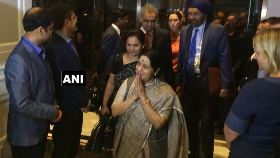 External affairs minister Sushma Swaraj arrives in US for the 72nd UN General Assembly.