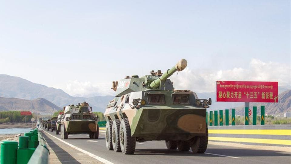 File photo of vehicles from a PLA artillery regiment conducting manoeuvres in the Tibet Autonomous Region in April 2016.
