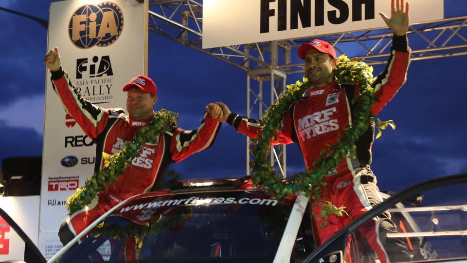 Gaurav Gill (right) of Team MRFSkoda, celebrate with co-driver co-driver Stephane Prevot (Belgium) at the podium of Rally Hokkaido in Japan -- the penultimate round of the 2017 FIAAsia Pacific Rally Championship (APRC)