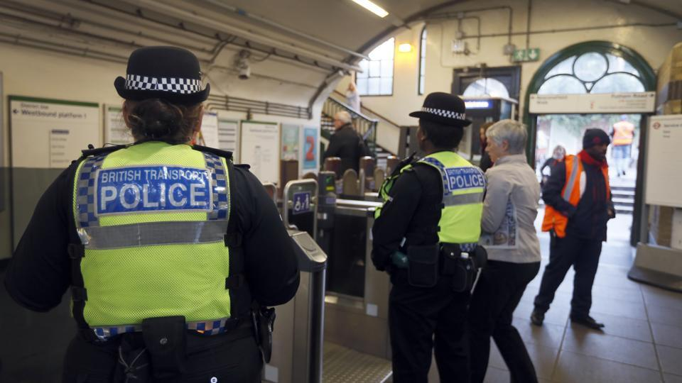 Transport police keep guard at Parsons Green subway station in London on September 18, 2017. A bucket wrapped in an insulated bag caught fire on a packed London subway train at Parsons Green station on September 15, and police are treating it as a terrorist incident.