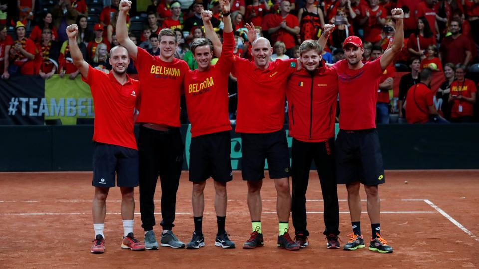 Belgian tennis players celebrate their win over Australia in the Davis Cup