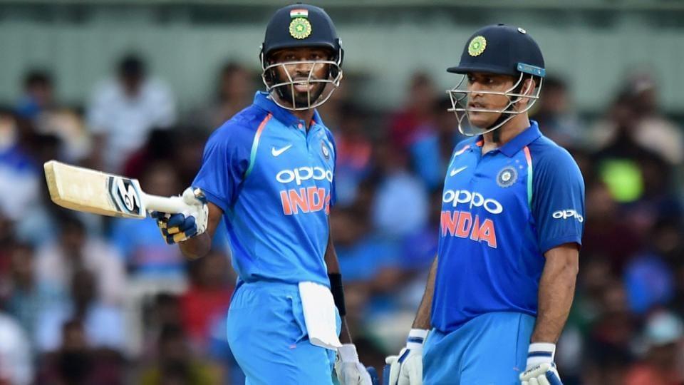 MS Dhoni and Hardik Pandya during the 1st One-Day International (ODI) against Australia at theMA Chidhambaram Stadium in Chennai on Sunday.