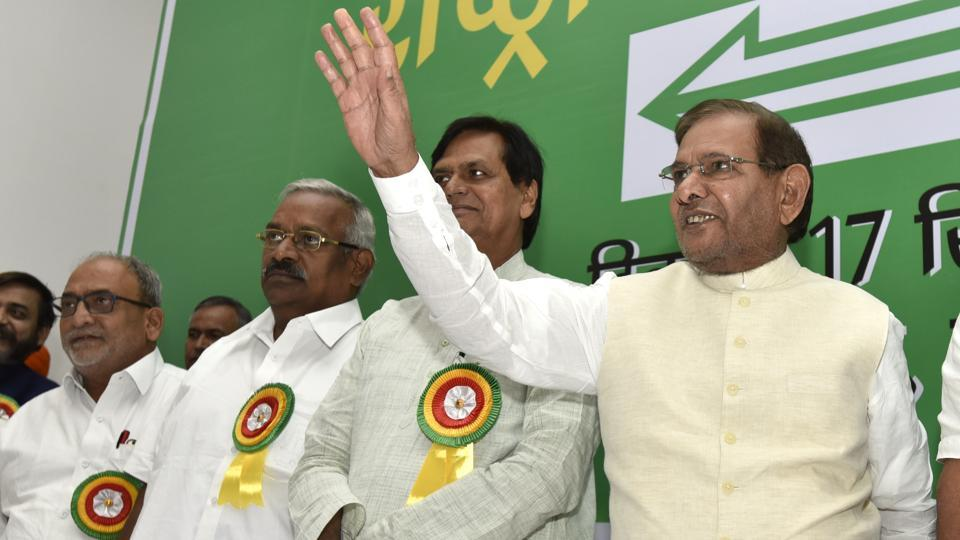 JD(U) leader Sharad Yadav with his party leaders during the national executive meeting in New Delhi on Sunday.