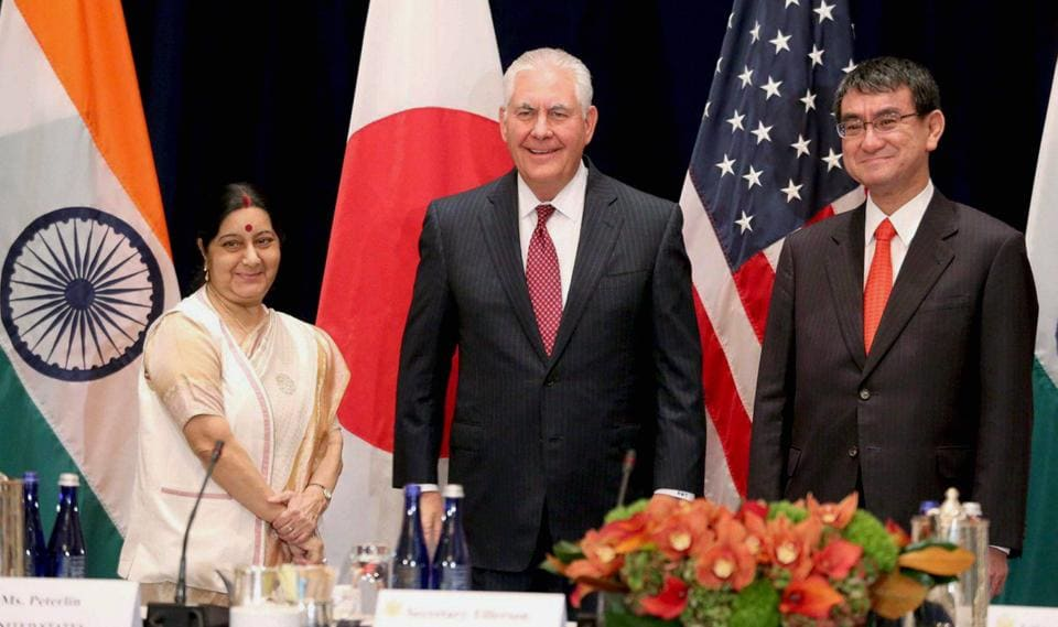 External affairs minister Sushma Swaraj with US secretary of state Rex Tillerson and Japanese foreign minister Taro Kono at the Palace Hotel in New York on September 18, 2017.