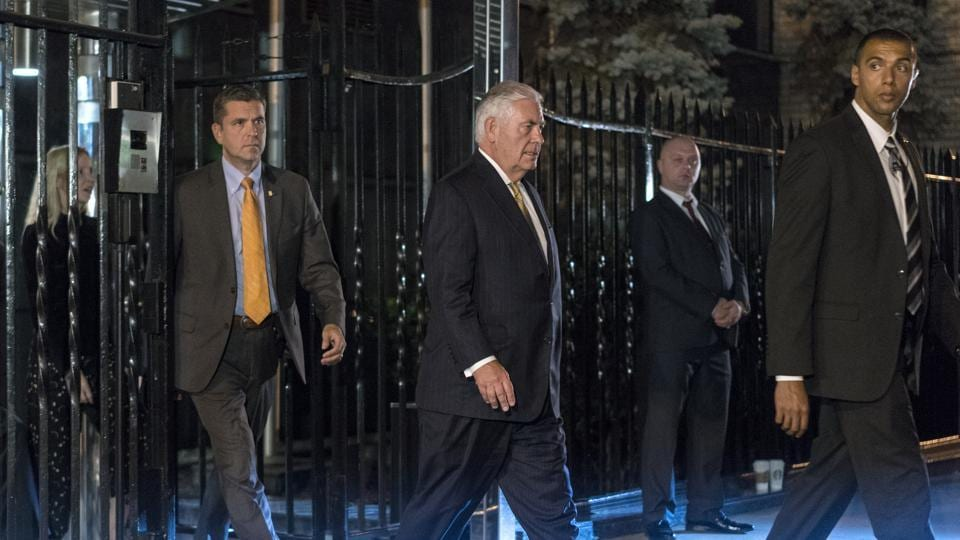US secretary of state Rex Tillerson (C) leaves the Permanent Mission of the Russian Federation in New York on Sunday after a meeting with Russian foreign minister Sergey Lavrov.