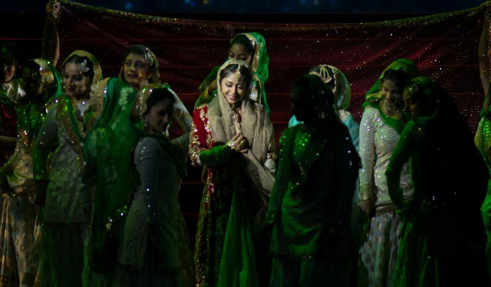 A still from the theatrical musical play based on the film Mughal-e-Azam.