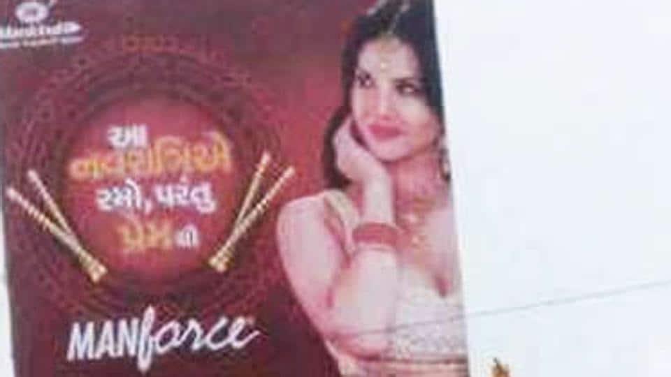 Sunny Leone is the brand ambassador for a condom brand. Protest took place against its Navratri -themed ads.