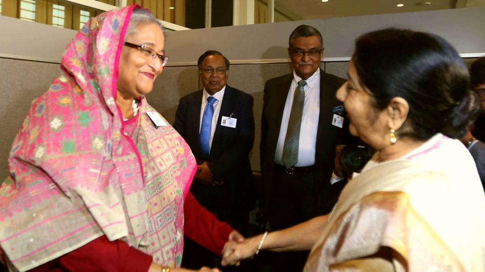 External affairs minister Sushma Swaraj meets Bangladeshi Prime Minister Sheikh Hasina  at the UNgeneral Council meeting in New York.