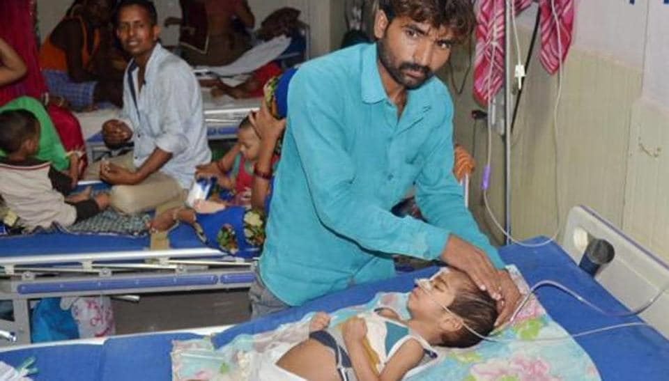 A ward of BRD Hospital in Gorakhpur where at least 64 children died allegedly due to oxygen supply cut.