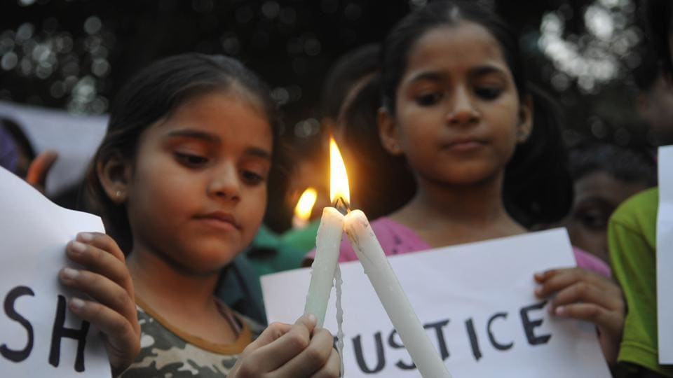A number of school kids and their parents took out a candle light protest recently at the Noida Stadium against the murder of 7-year-old Pradyuman Thakur at Ryan International School in Gurgaon on September 8, in Noida, India.