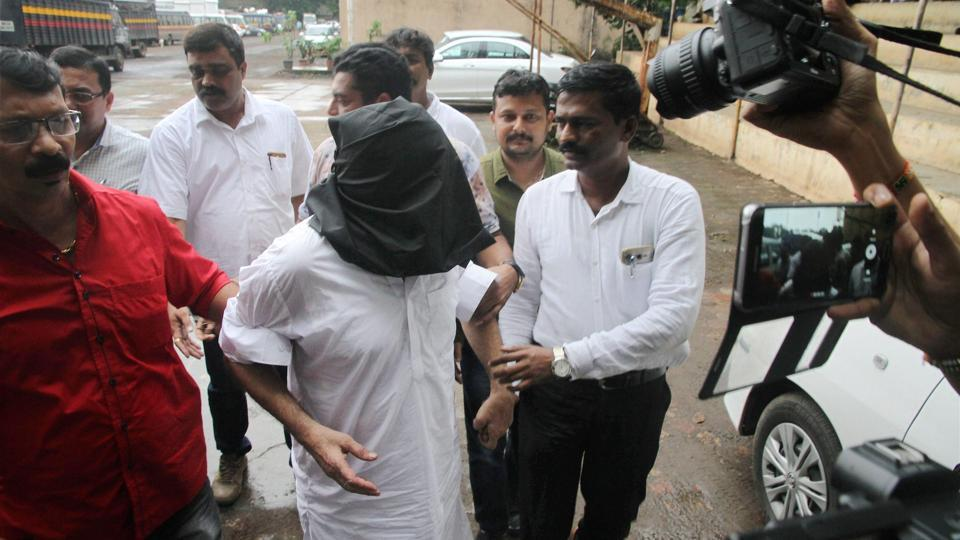Underworld don Dawood Ibrahim's brother Iqbal Kaskar being produced in a court in Thane, Mumbai on Tuesday.
