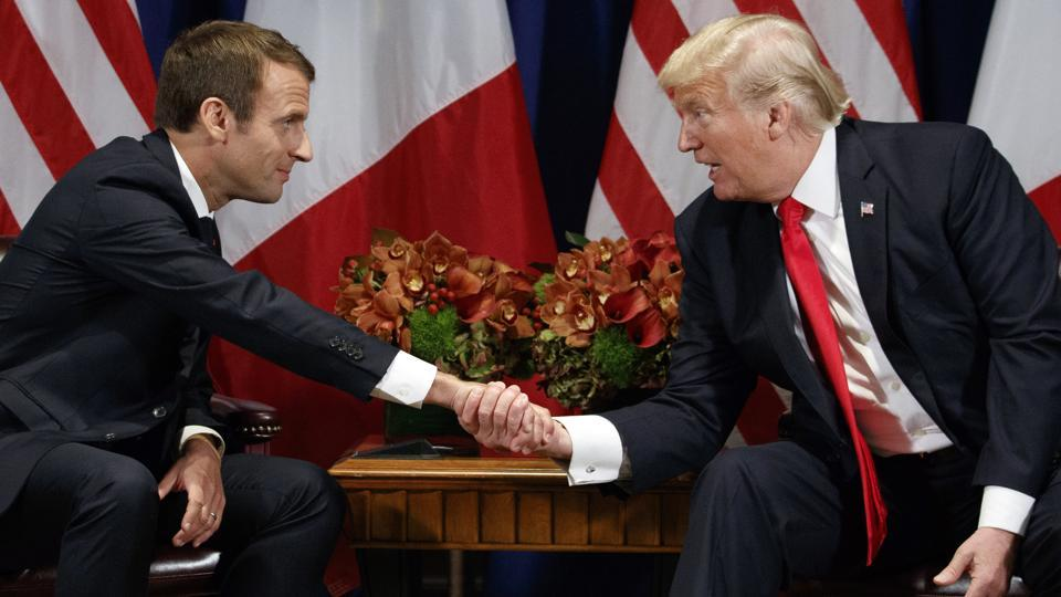 President Donald Trump shakes hands with French President Emmanuel Macron during a meeting at the Palace Hotel during the United Nations General Assembly, Monday, Sept. 18, 2017, in New York.R