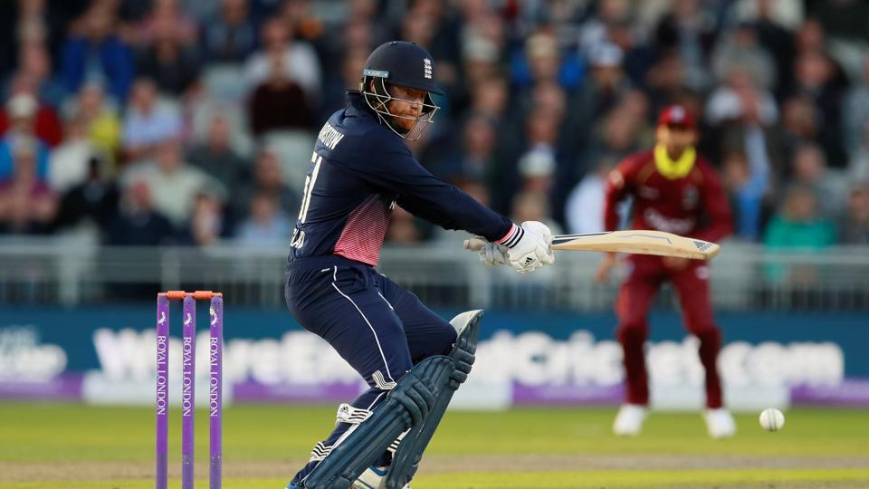 Riding on Jonny Bairstow's maiden ODI century, England beat West Indies by seven wickets in the rain-hit first ODI in Manchester. Get live cricket score of England vs West Indies, 1st ODI at Manchester on Tuesday.