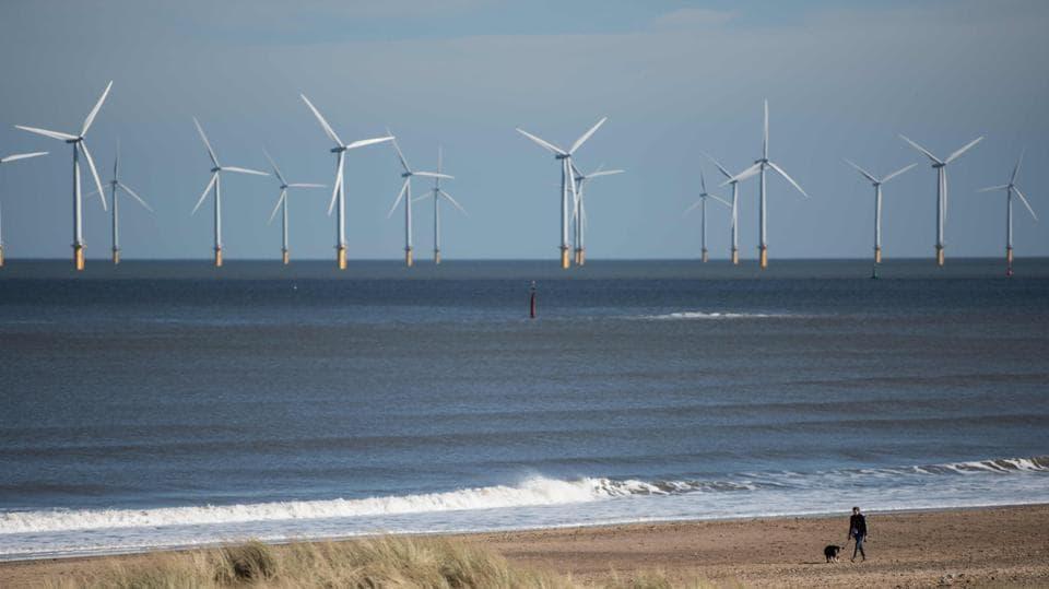 An off-shore wind farm.